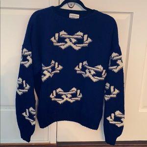 Men's sweater. Royal blue/white. XL. 100 % wool